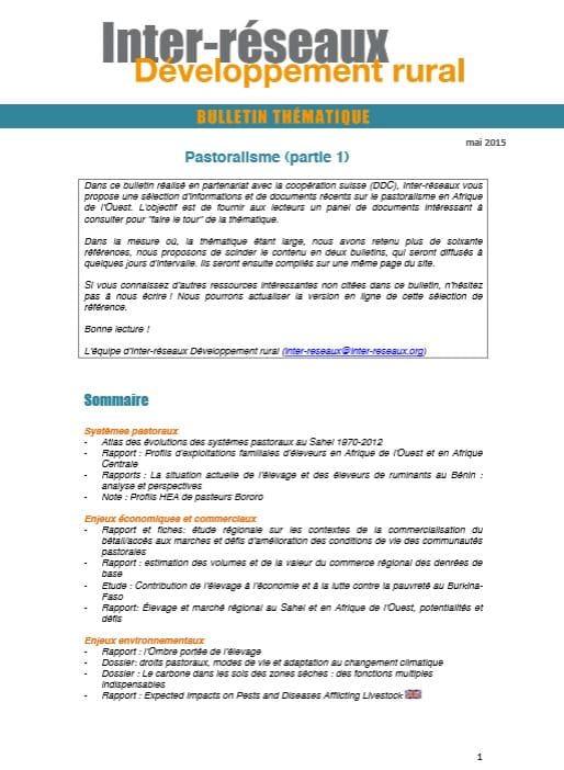 Bulletin de veille n°263 - Spécial pastoralisme 1