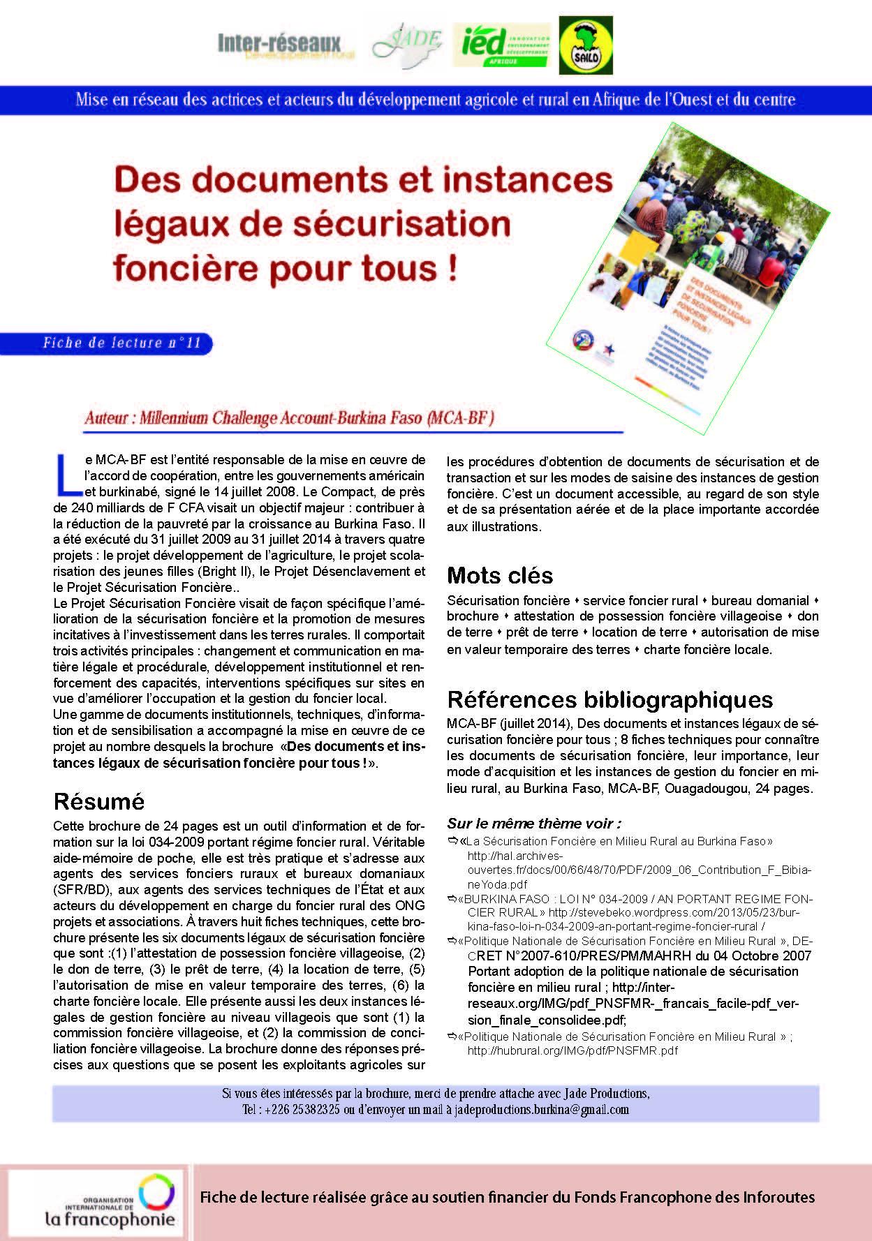 Production de fiches de lectures (Jade Burkina)