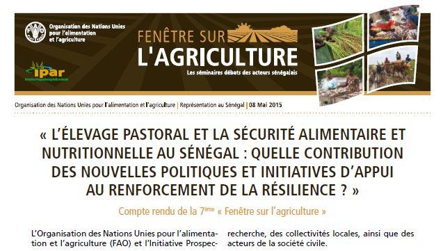Compte rendu de la 7ème « Fenêtre sur l'agriculture » : L'élevage pastoral et la sécurité alimentaire et nutritionnelle au Sénégal