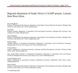 Regional dimensions of South Africa's CAADP process: Lessons from West Africa