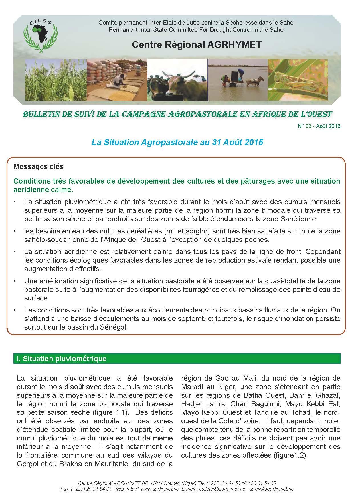 Bulletin Agrhymet de suivi de la campagne agropastorale en Afrique de l'Ouest - Août 2015