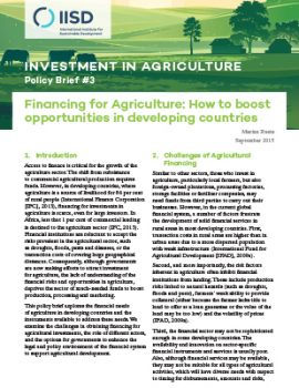 Financing for Agriculture: How to boost opportunities in developing countries