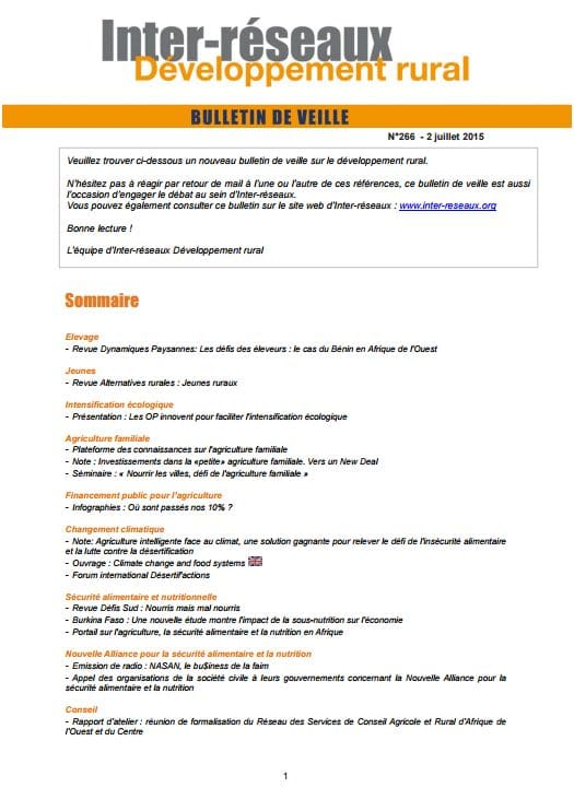 Bulletin de veille n°269 - 18 septembre 2015