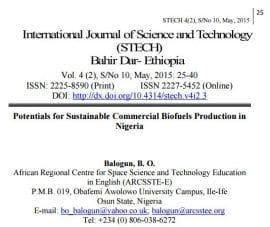 Etude : Pour une production commerciale durable de biocarburants au Nigéria