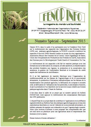 FENOP Info - Spécial Agroécologie