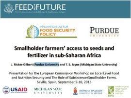 Présentations sur l'accès des petits producteurs aux semences et aux engrais en Afrique subsaharienne