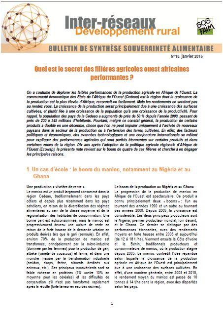 Bulletin de synthèse n°18 : Quel est le secret des filières agricoles ouest africaines performantes ?
