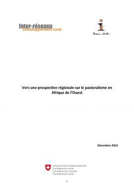Vers une prospective régionale sur le pastoralisme en Afrique de l'Ouest