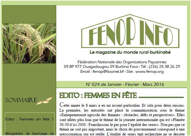 Bulletin : FENOP Info n°24 (janvier - mars 2016)