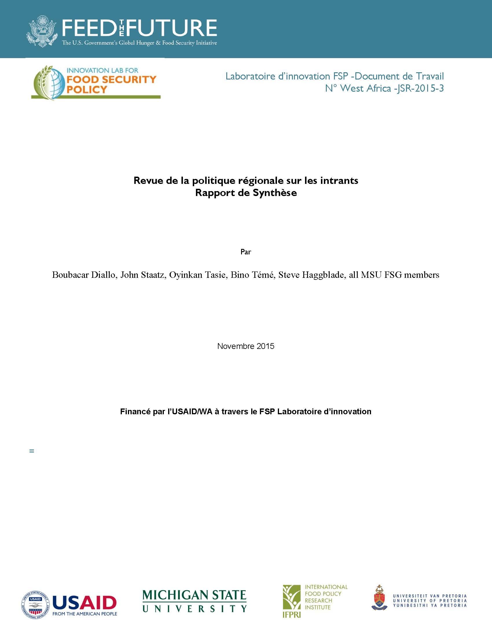 MSU : Revue de la politique CEDEAO sur les intrants
