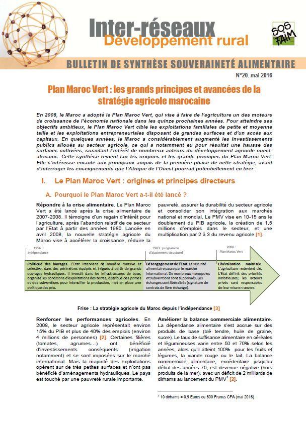 Bulletin de synthèse n°20 : Plan Maroc Vert : les grands principes et avancées de la stratégie agricole marocaine