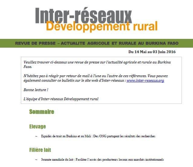Revue de presse sur l'actualité agricole et rurale au Burkina Faso (14 mai - 3 juin 2016)