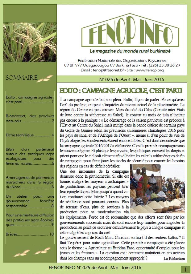 Fenop Info n°25 (avril - juin 2015)