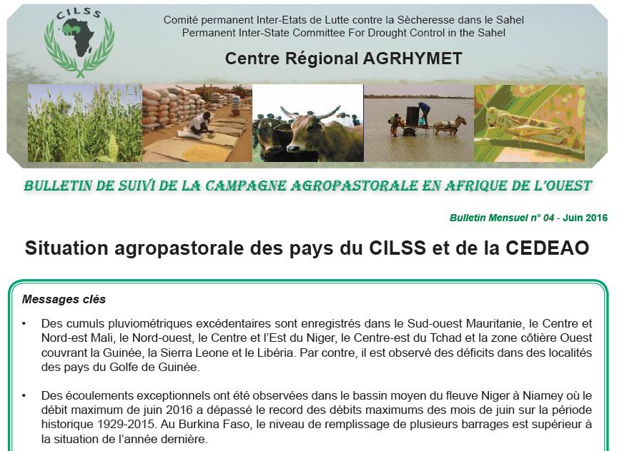 Situation agropastorale des pays du CILSS et de la CEDEAO (juin 2016)