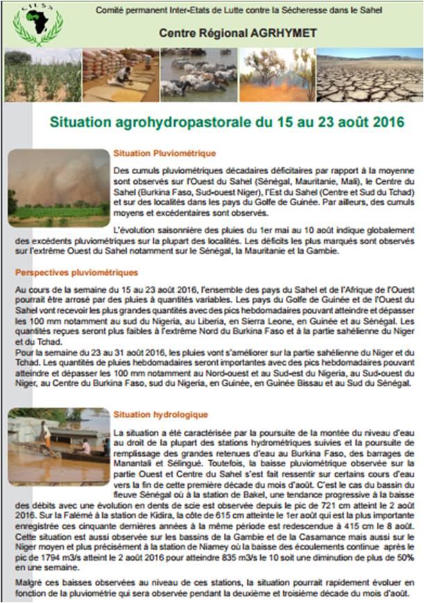 Bulletin Agrhymet : Situation agrohydropastorale du 15 au 23 août 2016