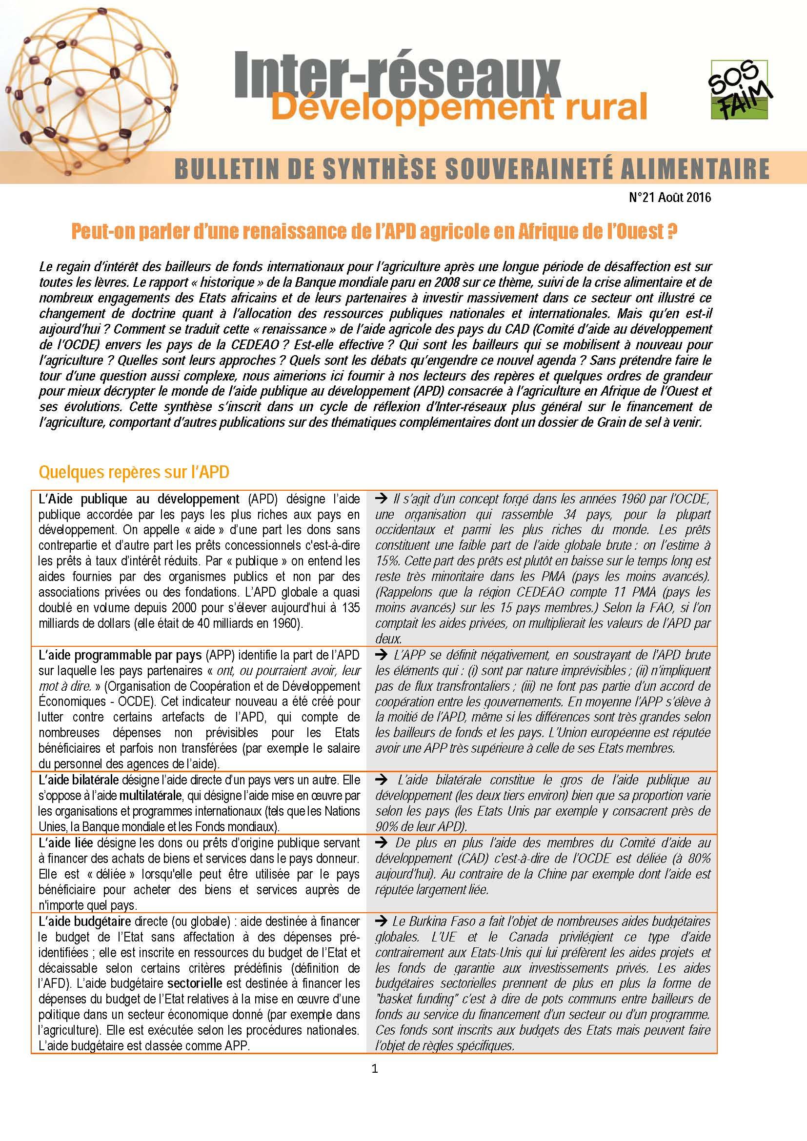 Bulletin de synthèse n°21 : Peut-on parler d'une renaissance de l'APD agricole en Afrique de l'Ouest ?