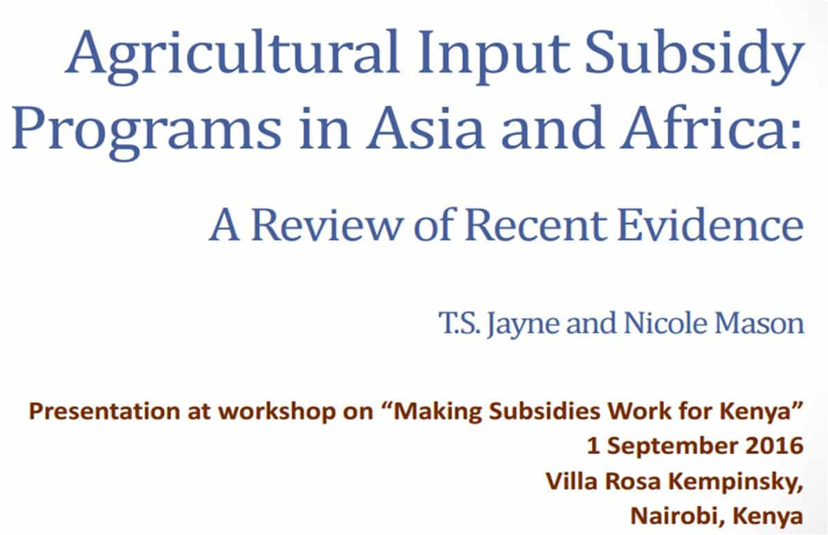 Agricultural input subsidy program in Asia et Africa: a review of recent evidence