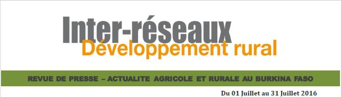 Revue de presse Burkina 16 Août au 16 Septembre 2016