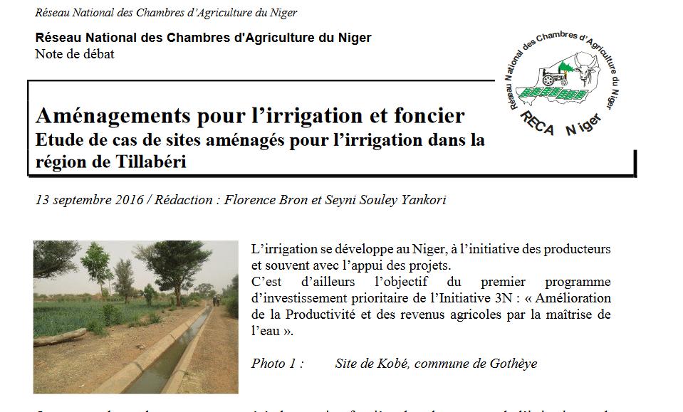 Aménagements pour l'irrigation et foncier / Etude de cas de sites aménagés pour l'irrigation dans la région de Tillabéri