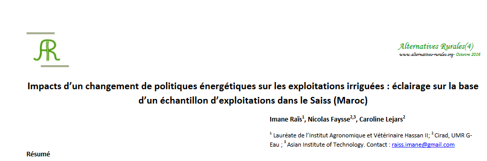 Impacts d'un changement de politiques énergétiques sur les exploitations irriguées : éclairage sur la base d'un échantillon d'exploitations dans le Saiss (Maroc)