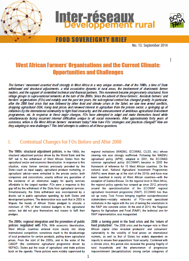 Food sovereignty brief n°13: West African Farmers' Organisations and the Current Climate: Opportunities and Challenges