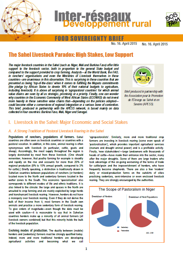 Food sovereignty brief n°16: The Sahel Livestock Paradox: High Stakes, Low Support