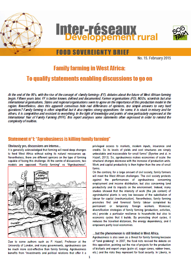 Food sovereignty brief n°15: Family farming in West Africa: To qualify statements enabling discussions to go on