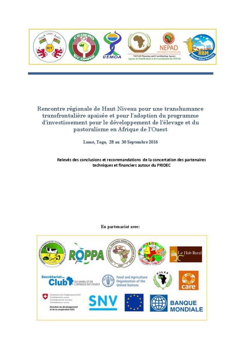 Rencontre régionale de Haut Niveau pour une transhumance transfrontalière apaisée et pour l'adoption du Programme d'investissement pour le développement de l'élevage et du pastoralisme en Afrique de l'Ouest - Lomé, 28 au 30 septembre 2016