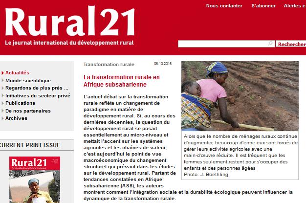 La transformation rurale en Afrique subsaharienne