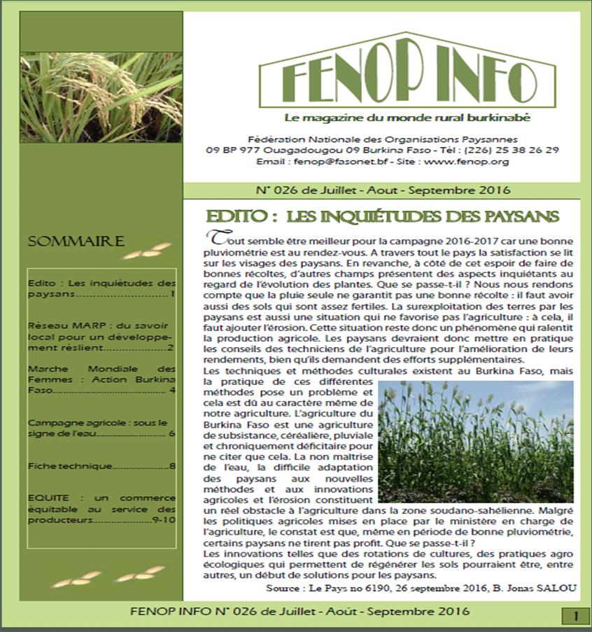 Bulletin FENOP Info n°26