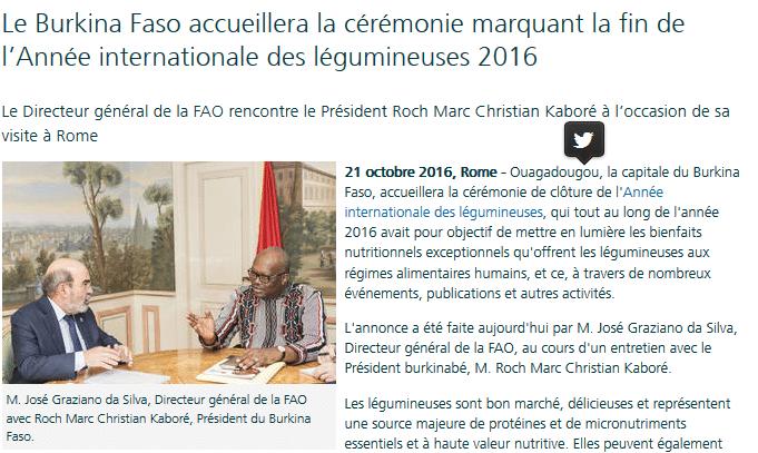 Le Burkina Faso accueillera la cérémonie marquant la fin de l'Année internationale des légumineuses 2016
