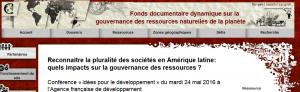 Reconnaître la pluralité des sociétés en Amérique latine: quels impacts sur la gouvernance des ressources?