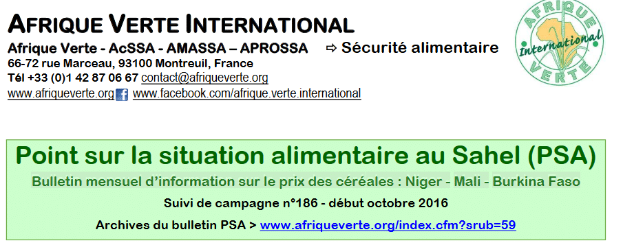Point Situation Alimentaire n°186 - octobre 2016