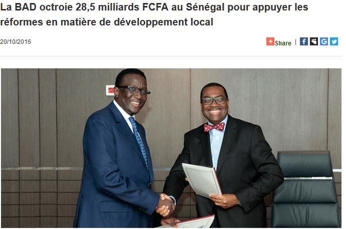 La BAD octroie 28,5 milliards FCFA au Sénégal pour appuyer les réformes en matière de développement local