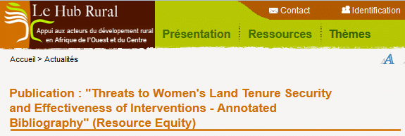 Threats to Women's Land Tenure Security and Effectiveness of Interventions - Annotated Bibliography (Resource Equity)