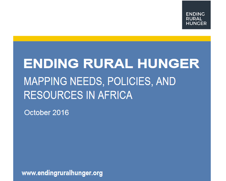 Ending rural hunger: mapping needs, policies and resources in Africa