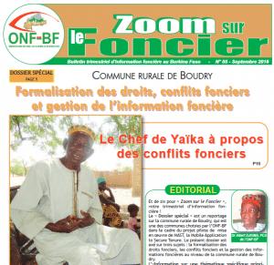 Bulletin Zoom sur le foncier au Burkina Faso: N° 5 Septembre 2016