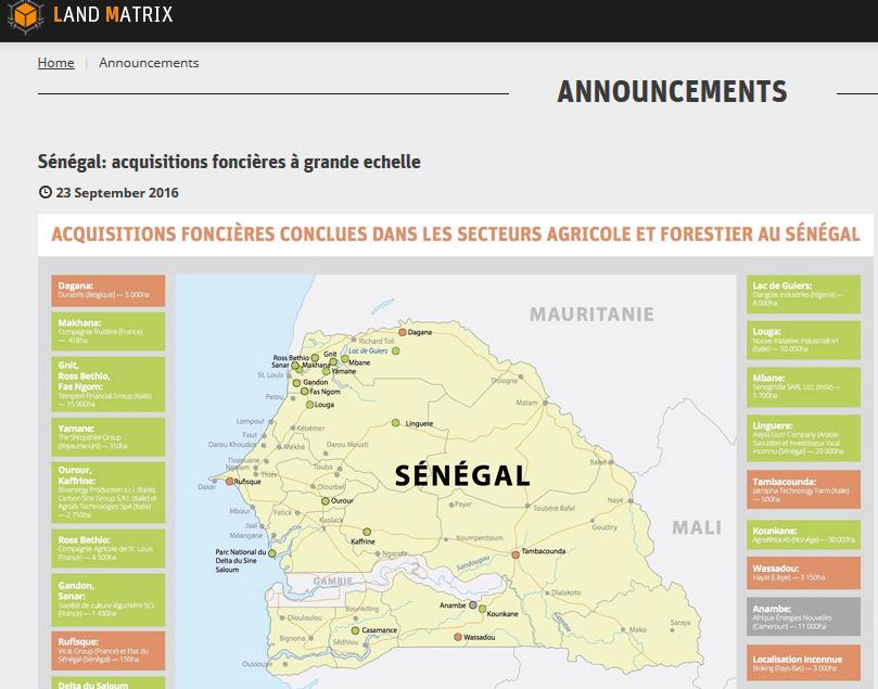 Land Matrix: Acquisitions foncières à grande échelle au Sénégal
