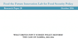 What drives input susidy policy reform? The case of Zambia 2002-2016