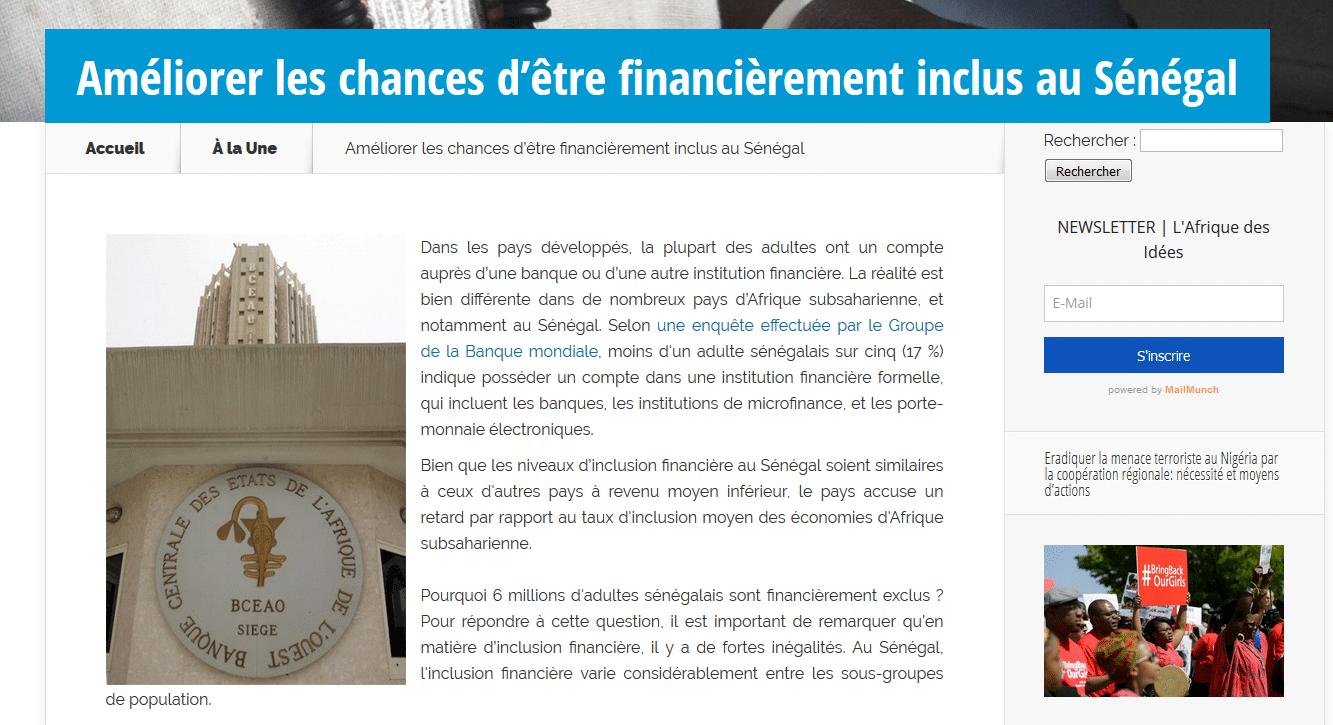 Améliorer les chances d'être financièrement inclus au Sénégal