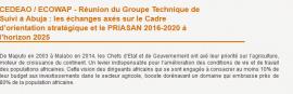 CEDEAO / ECOWAP - Réunion du Groupe Technique de Suivi à Abuja : les échanges axés sur le Cadre d'orientation stratégique et le PRIASAN 2016-2020 à l'horizon 2025