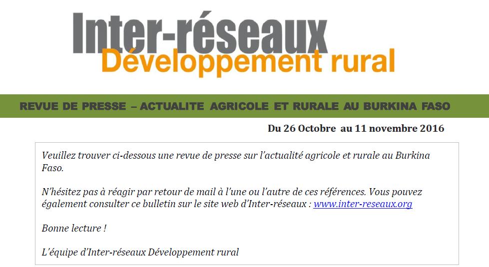 Revue de presse Burkina : 26 octobre au 11 novembre 2016