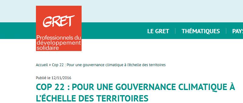 COP 22: une série d'interviews réalisées par le Gret sur les principales thématiques