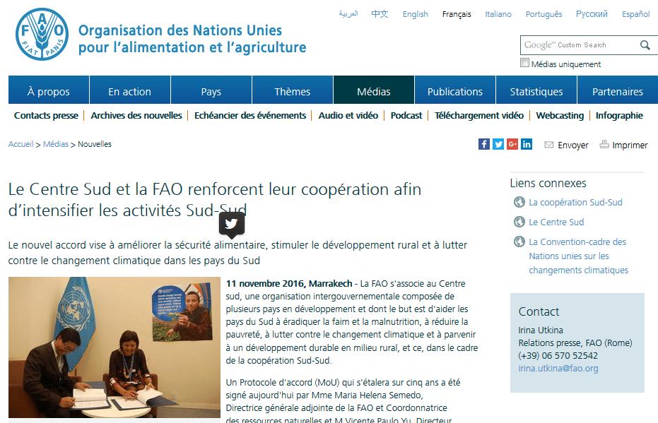 Le Centre Sud et la FAO renforcent leur coopération afin d'intensifier les activités Sud-Sud