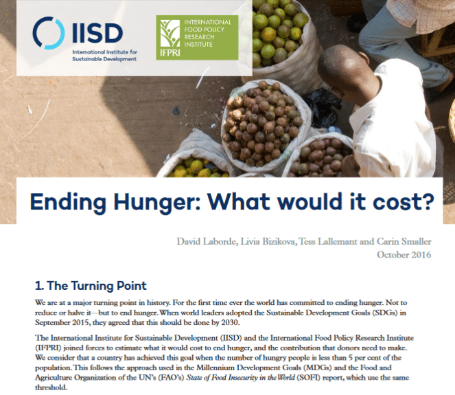 How much would it cost to end hunger worldwide by 2030?
