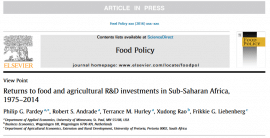 Returns to Food and Agricultural R&D Investments in Sub-Saharan Africa