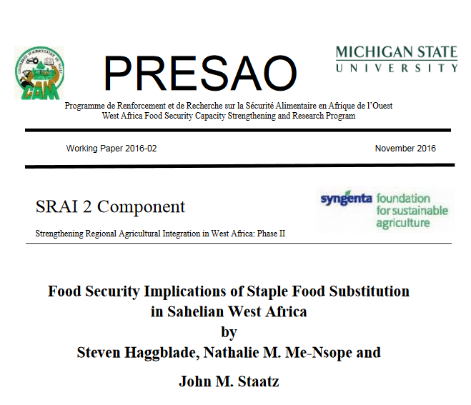 Food Security Implications of Staple Food Substitution in Sahelian West Africa