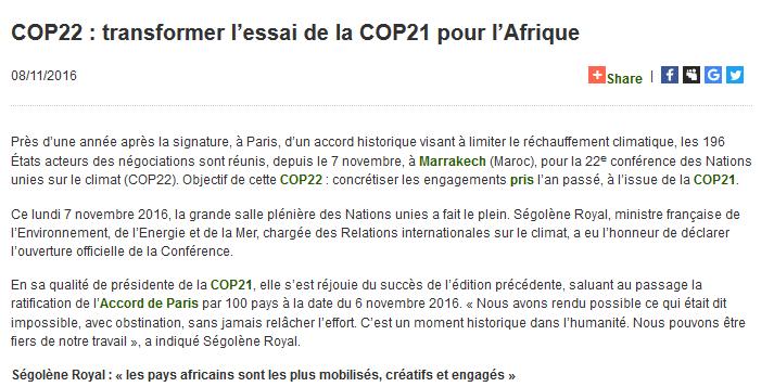 COP22 : transformer l'essai de la COP21 pour l'Afrique