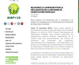Rejoignez la campagne pour la Déclaration de la Décennie de l'Agriculture Familiale!