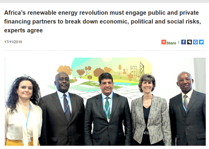 Africa's renewable energy revolution must engage public and private financing partners to break down economic, political and social risks, experts agree